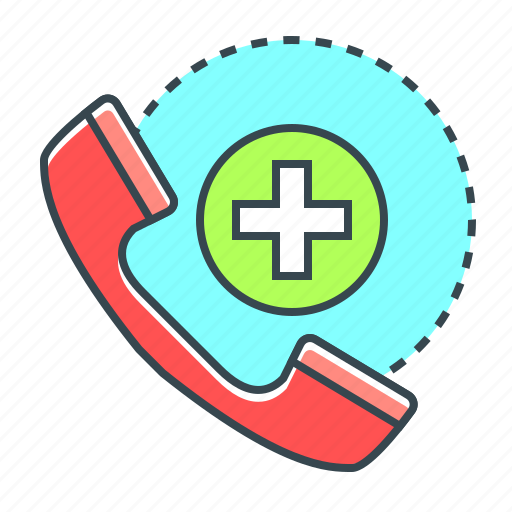 Medicine, emergency call, call, emergency, phone, handset, contact icon