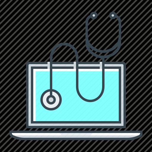 healthcare, laptop, medicine, online, online healthcare icon