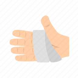 aid, bandage, bandaged, care, hand, human, injury icon
