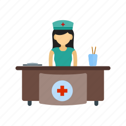 hospital, medical, office, reception, receptionist, room, waiting icon