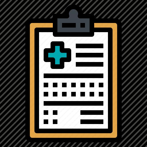 document, hospital, paper, prescription, report icon