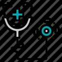 diagnosis, doctor, heath, stethoscope, tool icon