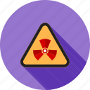 caution, dangerous, radiation, radio therapy, radioactive, warning sign, zone icon