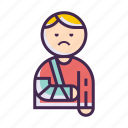 arm, broken, shoulder sling, shoulder strap icon