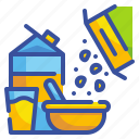 breakfast, cereal, cereals, food, milk, restaurant, wheat icon