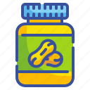 butter, food, healthy, jar, organic, peanut, vegan icon