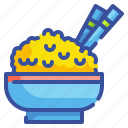 bowl, cereal, food, healthy, organic, rice, sticks icon
