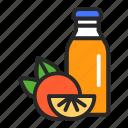 bottle, drink, food, healthy, juice, orange, package icon