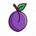 food, fruits, healthy, plum, sweet icon