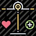 balance, hard, medical, scale, work icon
