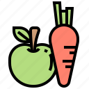 apple, carrot, food, fruit, vegetable