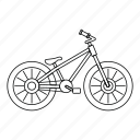 bicycle, bike, line, object wheel, outline, race, vehicle icon