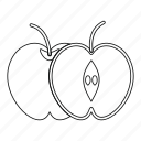 apple, food, fruit, half, line, object healthy, outline icon