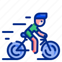 sport, bicycle, healthy, cardio, fast, man, bike icon