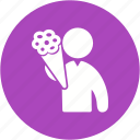 bouquet, flower, flowers, happiness, holding, love, rose icon