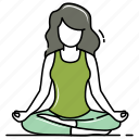 selfcare, yoga, female, meditation, relaxing, silence, woman icon