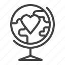 globe, heart, love, valentine's day icon