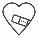 fixed, heart, injured, plaster icon