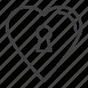 heart, key, keyhole, lock, love icon