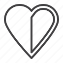 halved, health, heart, love icon