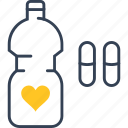 bottle, defect, heart, medicine, tablet icon