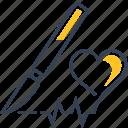 defect, diagnosis, heart, pen, text icon