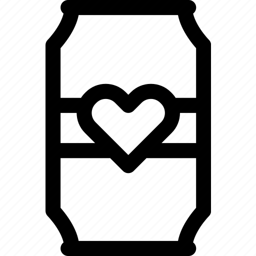 beer, beverage, can, drink, favorite, heart, love icon