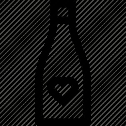 beverage, bottle, champagne, favorite, heart, love, wine icon