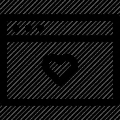 browser, favorite, heart, internet, love, screen, window icon