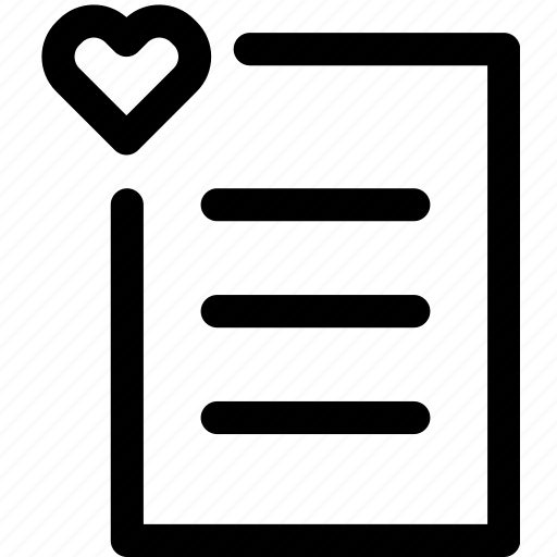 document, favorite, heart, love, page, paper, text icon