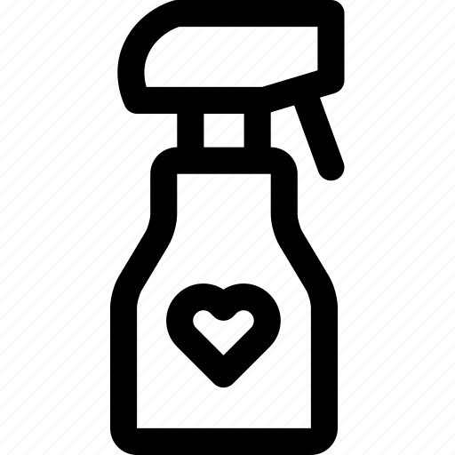 bottle, favorite, heart, love, passion, sanitizer, spray icon