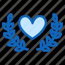 achievement, heart, love, wreath icon