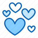 hearts, love, many, valentine icon