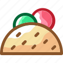 crepes, eat, food, ingredients, kebab, restaurant, salad icon
