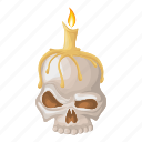 bone, candle, helloween, horror, skull icon