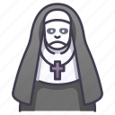 demon, ghost, halloween, horror, nightmare, nun, woman icon