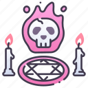 candle, halloween, horror, rite, ritual, scary, skull icon