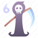 death, halloween, horror, reaper, scary, skull icon