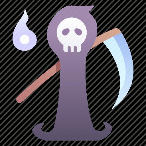 death, halloween, horror, reaper, scary, skull icon