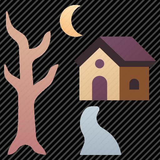 creepy, dark, halloween, haunted, house, night, spooky icon