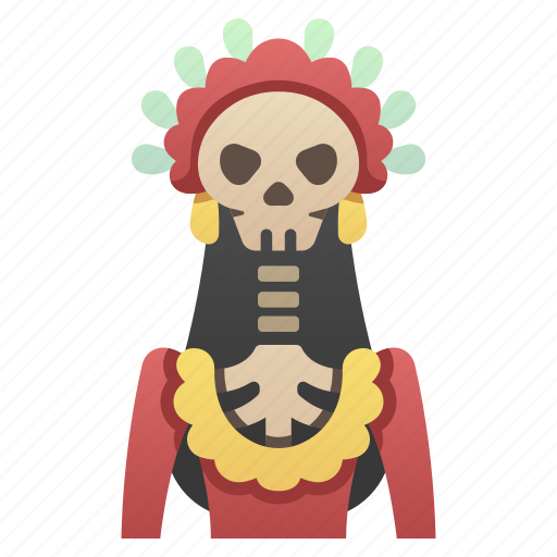 celebration, halloween, mexican, mexico, skeleton, skull, woman icon