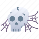 death, halloween, horror, skull, spider, web icon