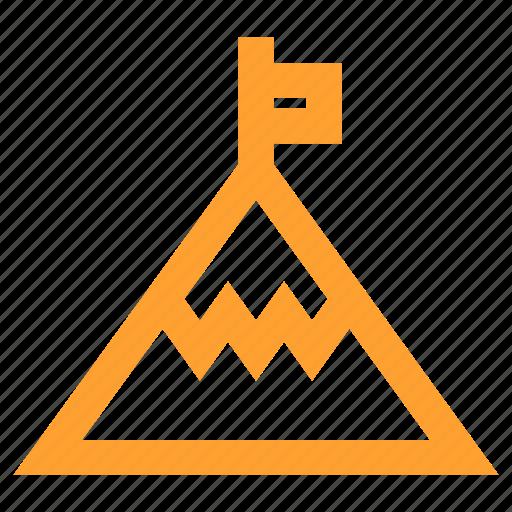 achievement, conquest, flag, goal, mountain, summit icon