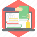 education, elearning, knowledge, learning, reading icon