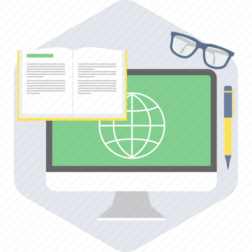 notebook, spects, web learning, writing icon