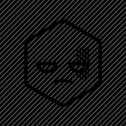 angry, emoticon, hexagon icon