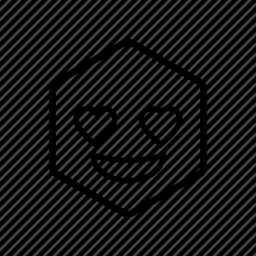 emoticon, hexagon, love icon