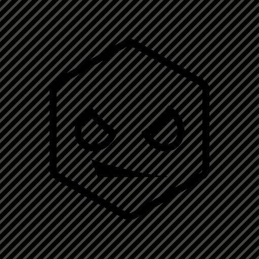 emoticon, hexagon, smirk icon