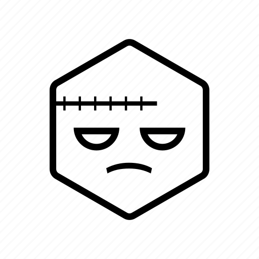 emoticon, frankenstein, hexagon icon