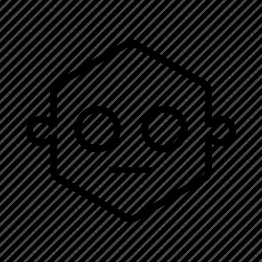 emoticon, hexagon, robot icon